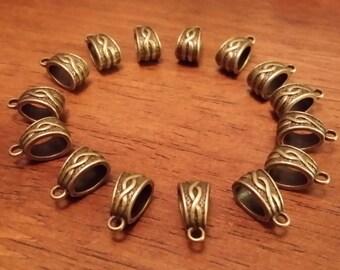 Antique Bronze Bails - 75 pcs. - Large Hole - Tibetan Bails - Fancy Bails - Antique Bronze Bails -  Cadmium Free - Lead Free