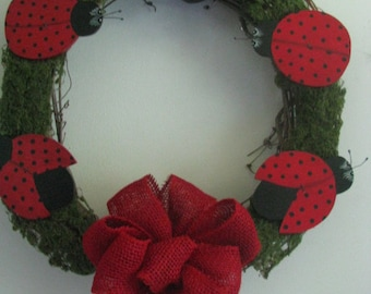 Ladybug wreath, summer door hanging, gift for her, hostess gift, summer tole painting, hanging ladybugs,