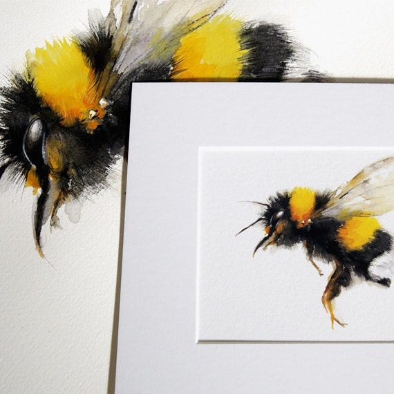 Bee Watercolor Painting Bumble Art Print Nature