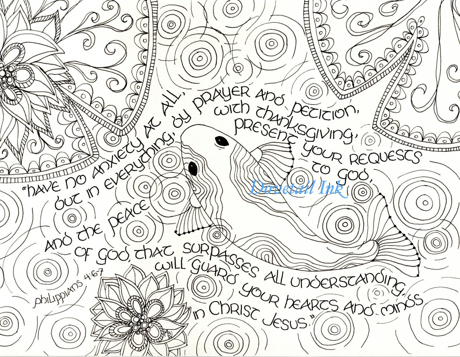 Printable Philippians 4 6-7 Scripture Art Coloring Page for