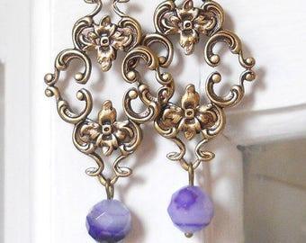 Victorian earrings purple chandelier earrings agate earrings dangle earrings vintage style jewelry stone earrings