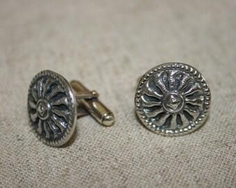 Silver Cuff Links, Silver Sun,Sun Cuff Links,Handmade Silver Cuff Links , Men's Cuff Links, Statement Cuff Links, Solid Silver Cuff Links,