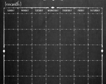 NEW DESIGN - 16 x 20 Personalized Custom Chalkboard-look Perpetual Calendar Poster (No Frame)