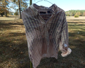 Distressed plaid shirt - bleached dipped splattered recycled - pink yellow brown - Size XXL (men's / unisex) (#S25)