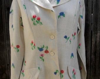 Vintage 60s Floral Jacket Summer Blazer Boyfriend Jacket w/Flowers Large