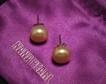 Pink Freshwater Pearl Earrings, 925-Silver Pearl Stud, 10 mm Pearl Button, Wedding Pearls
