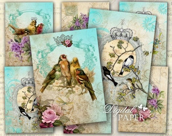 Bird Kingdom - tags - digital collage sheet - set of 6 - Printable Download
