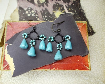 Rustic Assemblage Earrings - Short Chandeliers - Handmade Bead & Wire Connectors - Dark Steel, Pearly Aqua Glass - Vintage Dimpled Charms