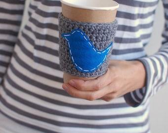 Coffee Cozy, Blue Bird Crochet Coffee Sleeve, Reusable Coffee Cozy Gray