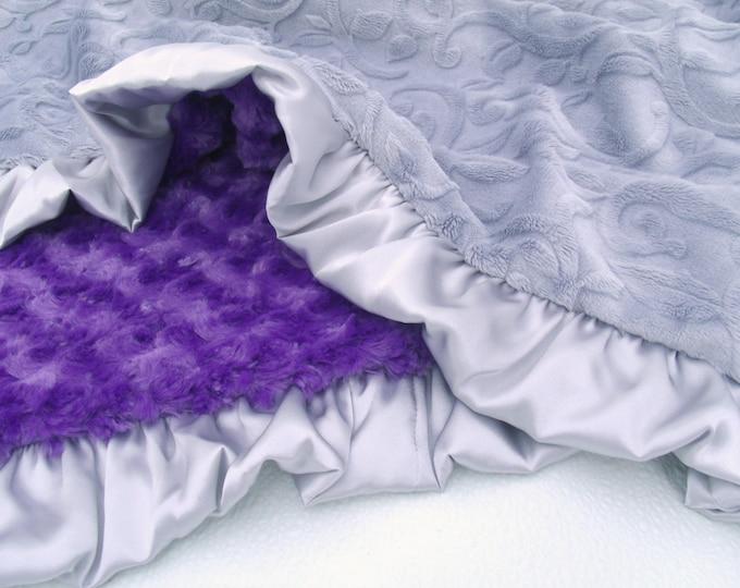 Purple and Gray Vine Minky Baby Blanket - baby girl