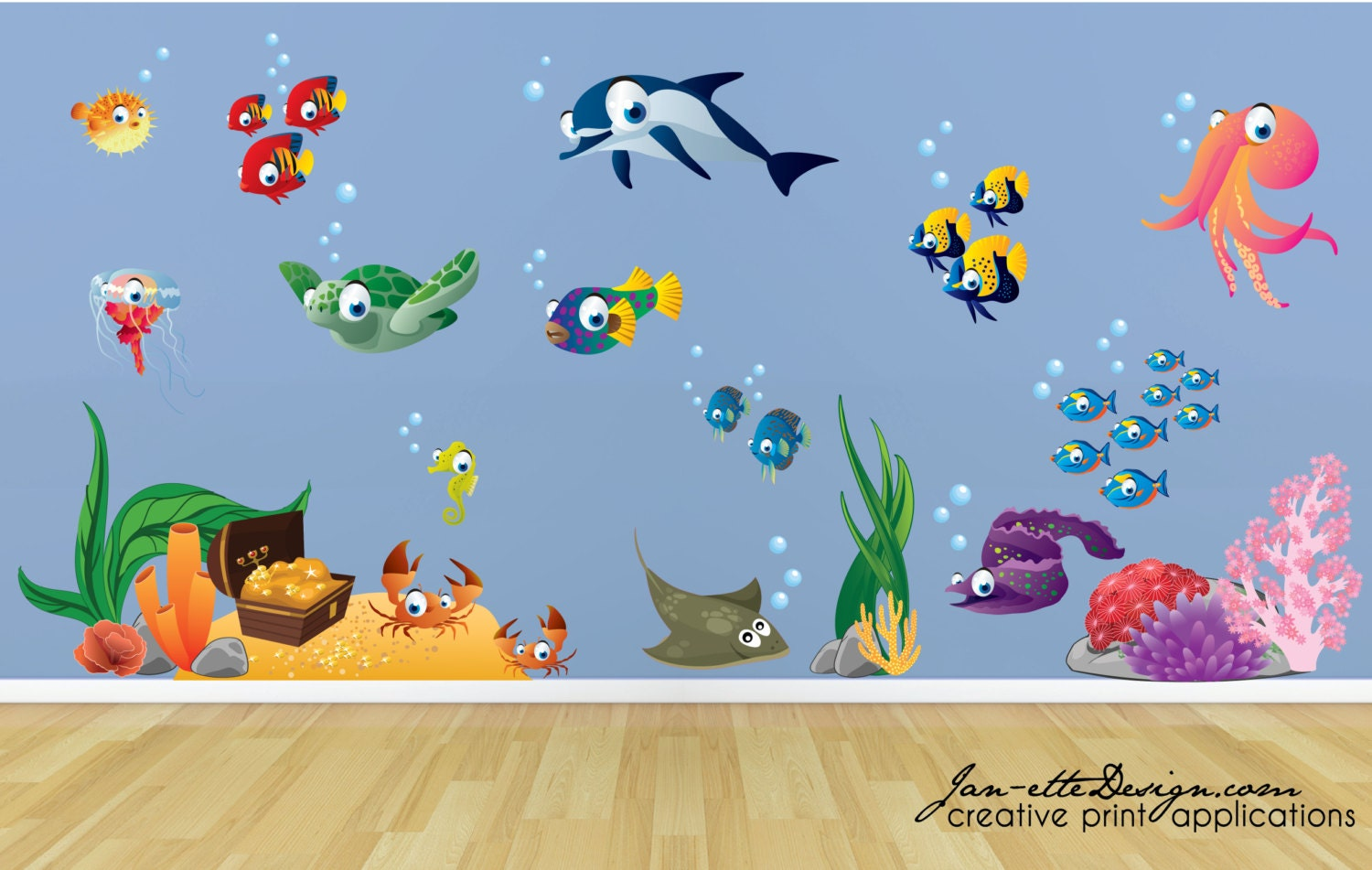 Kids wall decalsfish and deep sea treasure fabric wall decal zoom amipublicfo Image collections