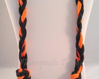Sensory Jewelry size XLarge Black and Orange Multiple knots