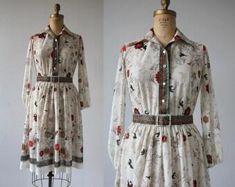 vintage 1970s dress / 70s floral print dress / 70s long sleeve dress / 70s fall floral shirt dress / 70s cream green floral dress / medium