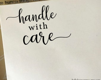Handle with Care Stamp, Packaging Stamp, Etsy Sellers Stamp, Shop Owners Stamp, Eco-Friendly Rubber Stamp, Wooden or Self Inking Stamp