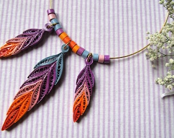 DreamCatcher Necklace purple and orange paper filigree