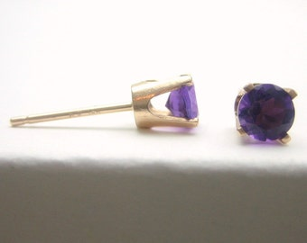 Amethyst 14K Gold Stud Earrings - Gold Earrings - 3 mm 4 mm 5 mm - Post Earrings - Amethyst Earrings - Birthstone Earrings - Solid 14K Gold