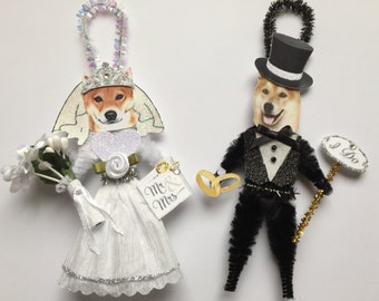 Shiba Inu BRIDE & GROOM ornaments Wedding Dog ornaments vintage style chenille ORNAMENTS set of 2