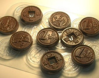 Coin mold, chocolate mold, polymer clay mold, candy mold, pirate coins, chinese coin mold, pirate mold, coin mould, chinese cabochon