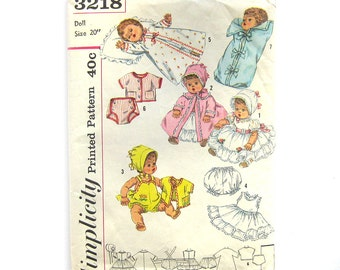 Vintage Sewing Pattern - DOLL CLOTHES - Simplicity 3218 - 20 inch Betsy Wetsy Tiny Tears DOLL