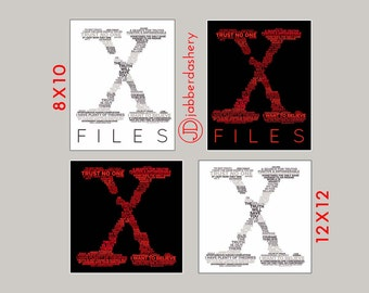 X-Files Typography 8x10 and 12x12, Red and White Wordshape, Wordle, Mulder, Scully, Digital Print, Sci-Fi