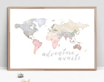 Kids world map etsy adventure awaits watercolor digital painting world map nursery print kids world map blue beige wall art printable digital download gumiabroncs Image collections