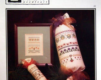 Miniature Sampler Pillows By Cecilia Turner And Heart In Hand Vintage Cross Stitch Pattern Leaflet 1994