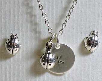 Ladybug Jewelry, Ladybug Hand Stamped Sterling Silver Petite Initial Charm Necklace and Post Earring Set, Ladybug Gift, Insect Jewelry