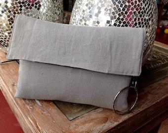 Grey  linen clutch / Crossbody bag / OOAK / FREE SHIPPING