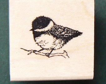 P24 Chikadee miniature rubber stamp WM 0.5x0.7 Deep etched