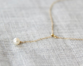 14k gold filled freshwater pearl dangle necklace