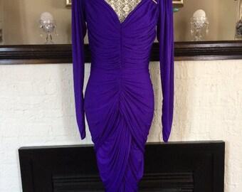 Dress / vintage / 80's / Dynasty / retro / unique / Lillie Rubin / Hollywood / Studio 54 / starlet / evening wear