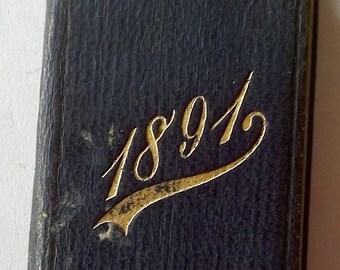 Antique 1891 Miniature Book Calendar