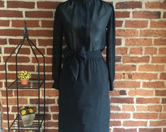 Vintage Sheer Secretaries Dress with Mandarin Collar