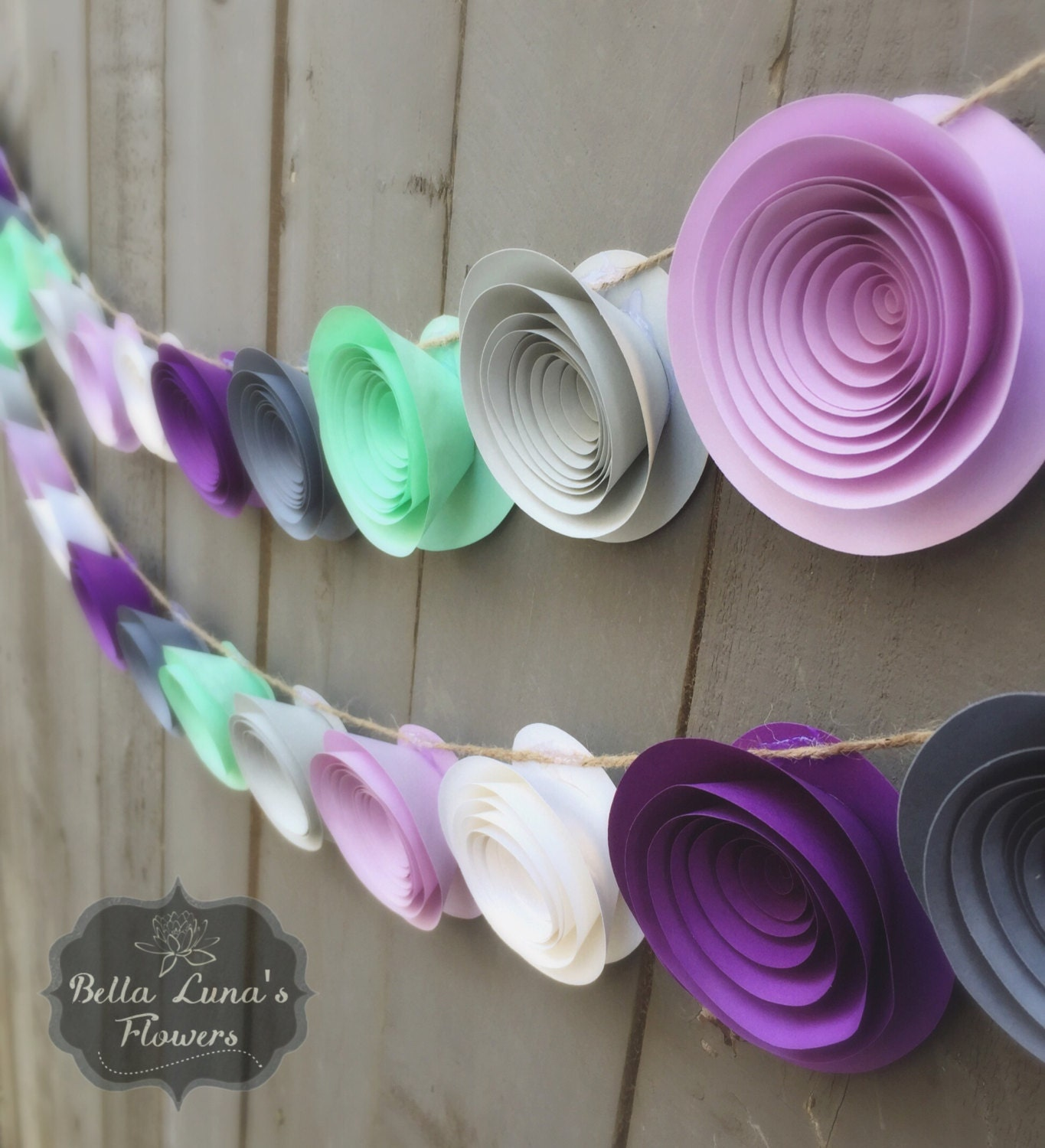 Purple paper flower garland gray white mint green zoom mightylinksfo Choice Image