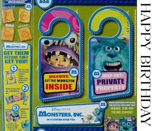 Birthday Card Vintage Cut Out Monsters Inc Door Cards