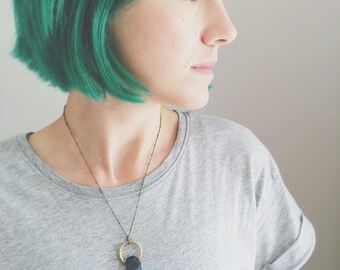 CIVAL Collective - Cece | Necklace | Natural Stone Capture Necklace |  Geometric Jewelry | Modern Design |  Industrial Brass Circle Pendant