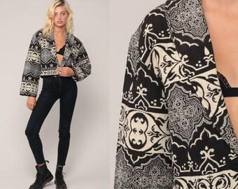 Tapestry Jacket Cropped Jacket 90s Blazer Black and White Print 1990s Boho Short Crop Hippie Vintage Bohemian Coat Medium