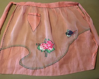 Adorable Sheer Matching Mother Daughter Vintage Handmade Aprons  - SOLD AS IS