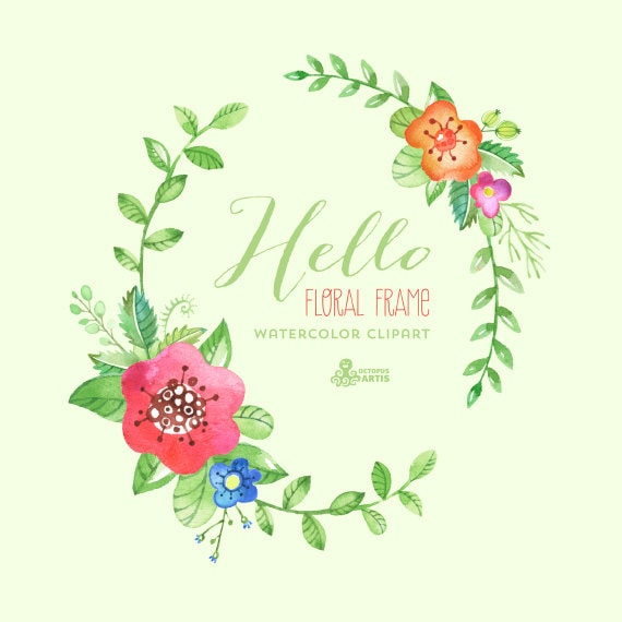 Hello Floral Frame Clipart. Handpainted watercolor wedding