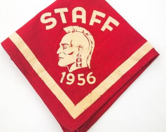 Vintage Neckerchief Boy Scout Staff cir 1956 BSA Very Rare Fantastic Imagery Americana!