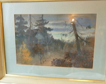 Vintage Watercolor Painting of Cabin in the Woods by Aquino