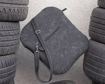 Felt Postman's Bag. Black felt shoulder bag. A4. Pure, minimal. industrial, Man, gift.