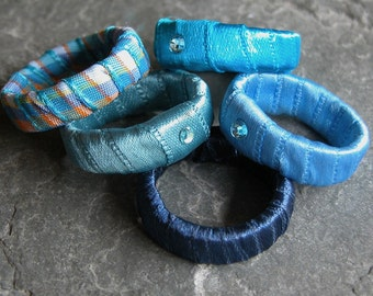 Women's Mother Gift, Stacking Rings, Blue Ring, Stackable Ring, Fabric Ring, Textile Ring, Fabric Jewelry, Bohemian Jewelry Rings