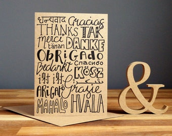 Thank you card, thanks in different languages
