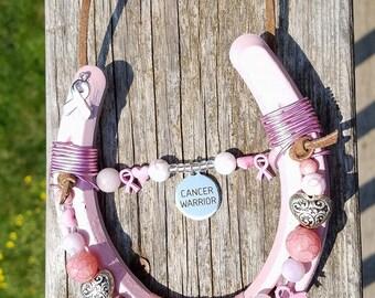 ShoesofLuck Cancer Warrior decorated Horseshoe