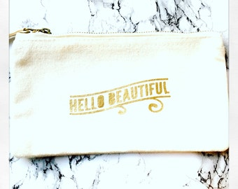 Hello beautiful-Gold make up bag-canvas  cosmetic bag-canvas pouch