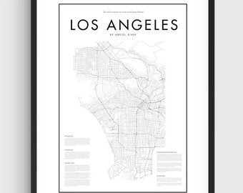 Minimal Los Angeles Map Poster, Black & White Minimal Print Poster, Art, Home Art, Minimal Graphics, Los Angeles Poster, Map Home Decor
