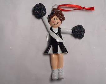 Black and White Cheerleader Personalized Christmas Ornament