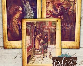 A Christmas Carol, Collage Sheet, Scrooge Ephemera, Christmas Collage, Printable Tags, Digital ATC Sheet, Printable Ephemera, CalicoCollage