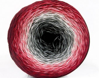 Colour Gradient Yarn Red White Grey Black - 150g cake 50 cotton 50% acrylic - UK Seller - knitting crochet wool ball #2 fine whirl 4-ply